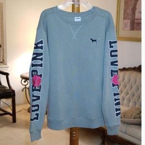 Pink Victoria Secret Embroided Sweatshirt